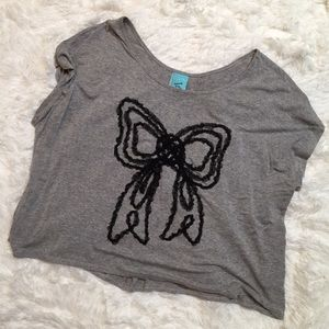 Women's h.i.p. Gray Crop Top with Bow- Med
